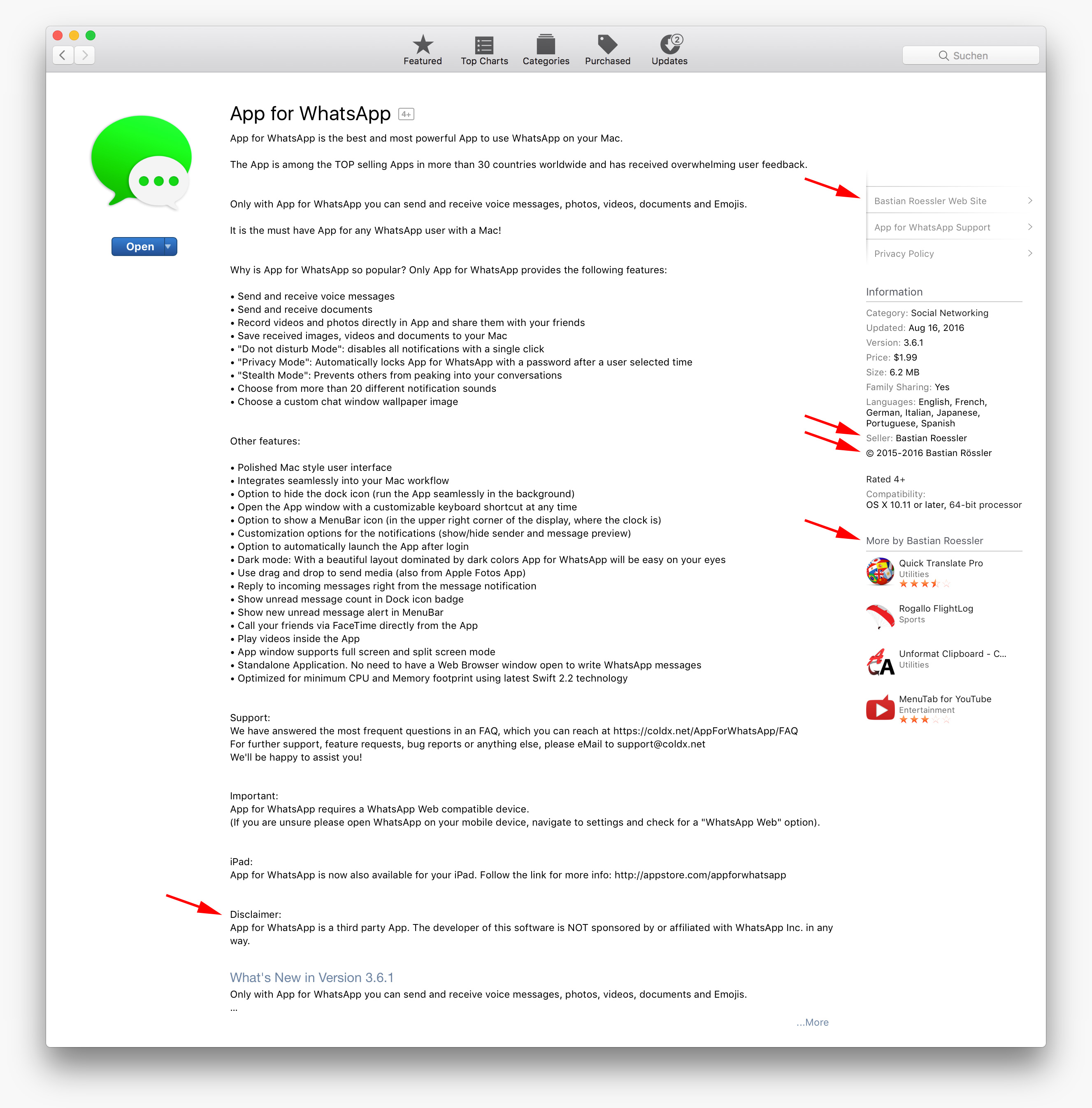 App for WhatsApp in Mac App Store
